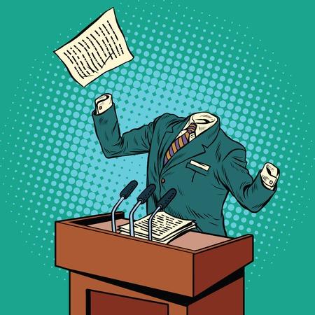 Invisible speaker speaks at the podium pop art retro vector illustration. invisible man Illustration