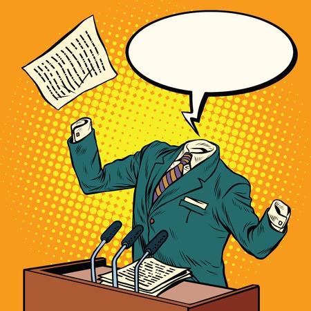 altavoces invisibles habla en la ilustración de podio arte pop retro del vector. hombre invisible