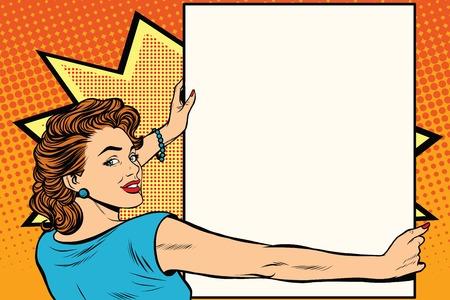 Femme d'art pop tenant une illustration vectorielle rétro d'affiche. Espace de copie pour l'annonce et la publicité Vecteurs