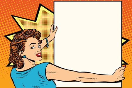 Pop art woman holding a poster retro vector illustration. copy space for the announcement and advertising Stock Vector - 60083832