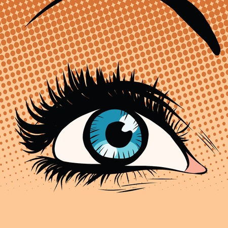 eyelids: Close-up blue woman eye looking up pop art retro vector illustration Illustration