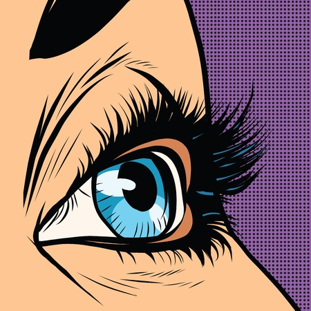 eyelids: Close-up blue woman eye looks to right pop art retro vector illustration