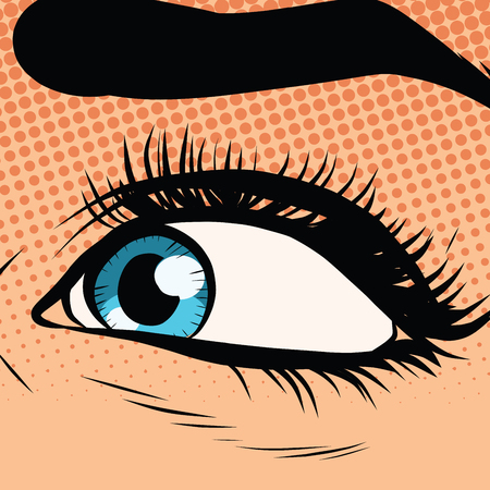 eyelids: Close-up woman blue eye looking to the left pop art retro vector illustration