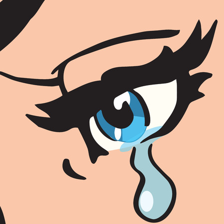 eye socket: Close-up blue eyes, a woman crying, pop art retro vector illustration Stock Photo