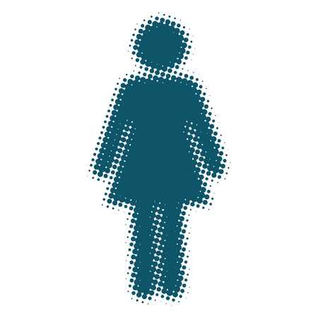 pictogram people: Woman icon blue blurred silhouette pop art retro vector illustration