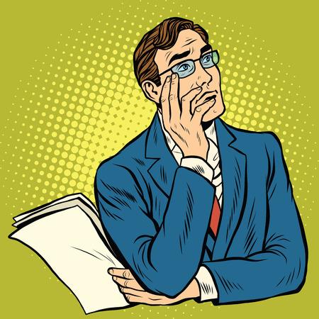 the thinker: Man the thinker pose pop art retro vector illustration Illustration
