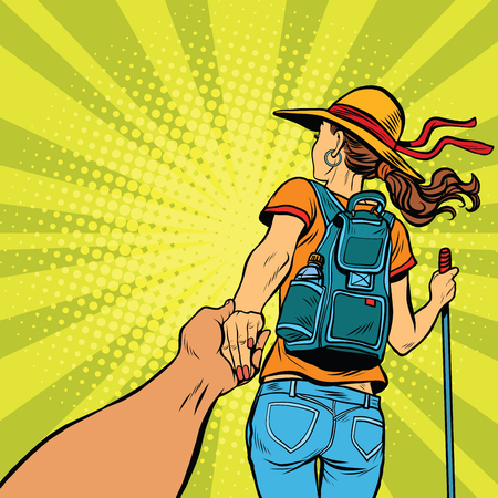 couple hiking: Follow me, young woman traveler with a travel backpack pop art retro vector illustration Illustration