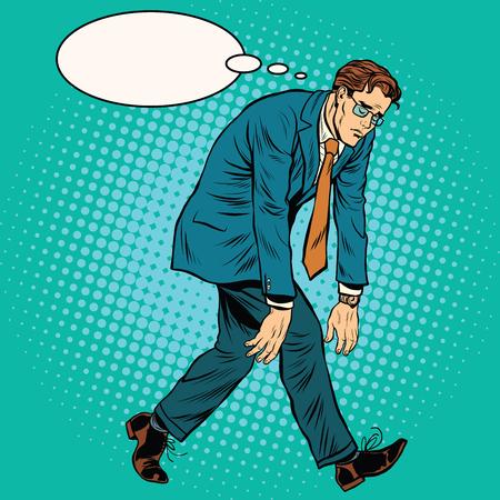 Tired man, depression and grief pop art retro vector illustration Vettoriali