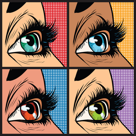 nationalities: Seth colored eyes, women of many nationalities pop art retro vector illustration. Blue green orange and yellow pupils