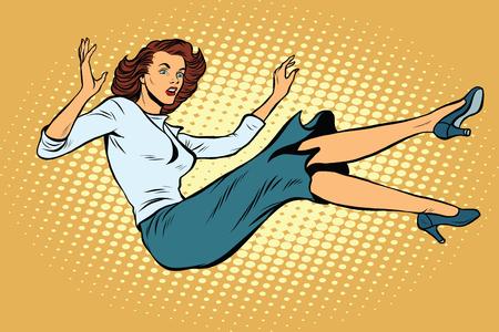 disaster: The woman falls down pop art retro vector illustration.