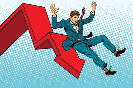 ruin: Business male financial collapse, fall and ruin pop art retro vector illustration