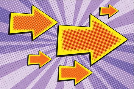 Flecha Arte grandes y pequeños pop retro ilustración vectorial Foto de archivo - 60251331