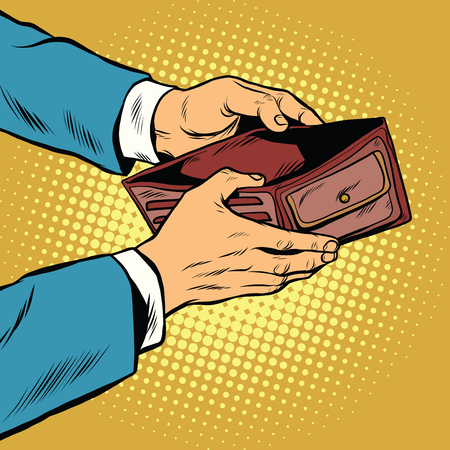 空の財布、ポップアート レトロなベクトル図のお金ないです。金融と貧困