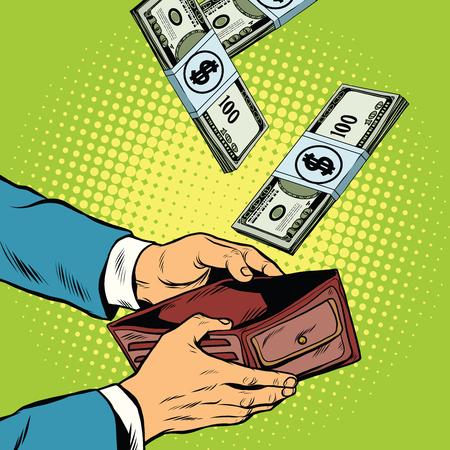 falling money: Money falling into wallet, financial profits and wealth, pop art retro vector illustration