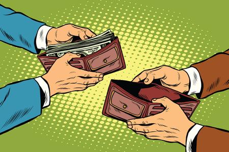 Leeg en volledige geld portemonnee pop art retro vector illustratie