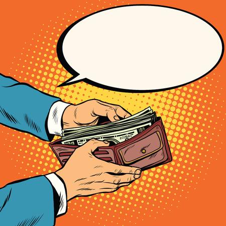 cash: Carpeta con el dinero en efectivo, los negocios y el arte pop retro ilustración vectorial Finanzas Vectores