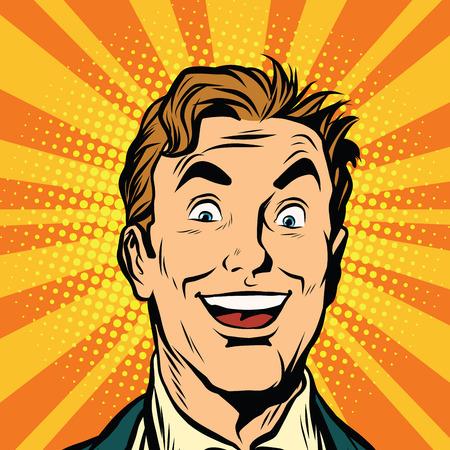 Happy male face, smile pop art retro vector illustration Illustration