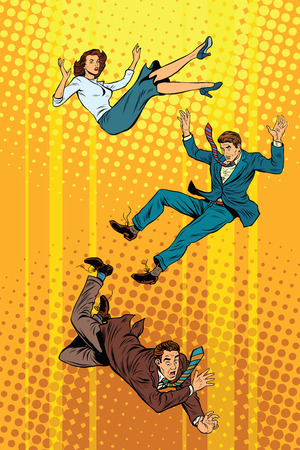 Business man and woman falling down pop art retro vector illustration