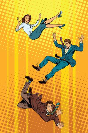 Business man and woman falling down pop art retro vector illustration Illustration