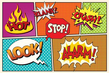 Page comic book lettering cloud bubbles pop art retro vector illustration. Hot look alarm stop klank crash