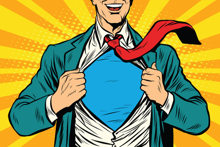 tearing: Super hero male businessman pop art retro vector illustration