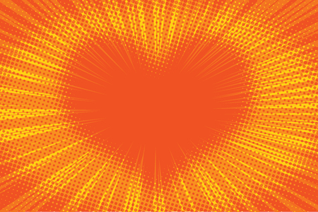 Yellow orange background heart pop art retro vector illustration