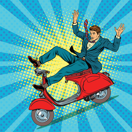 motorbike: Male driver accident on the scooter pop art retro vector illustration