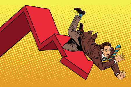 Bedrijf mannelijke financiële ineenstorting, herfst en ondergang pop art retro vector illustratie