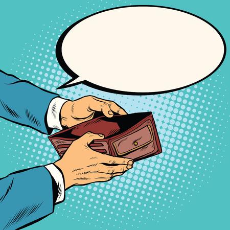 Lege portemonnee, geen geld pop art retro vector illustratie. Financiën en armoede