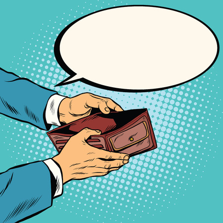 Empty wallet, no money pop art retro vector illustration. Finance and poverty Stock Photo