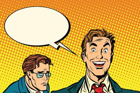 pessimist: happy and sad people pop art retro vector illustration. the optimist and the pessimist