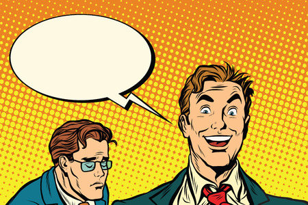 and an optimist: happy and sad people pop art retro vector illustration. the optimist and the pessimist