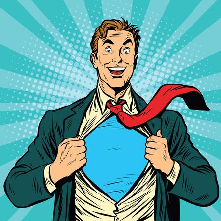 undress: Super hero male businessman pop art retro vector illustration