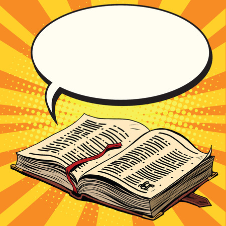lectern: Old book and comic bubble pop art retro vector illustration. The Bible and religion