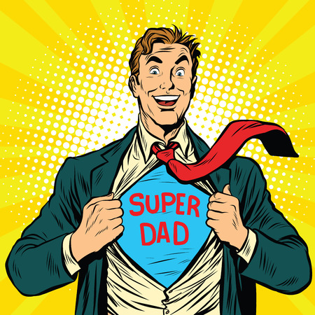 Super papà eroe con un gioioso sorriso pop arte illustrazione vettoriale retrò Archivio Fotografico - 60251372