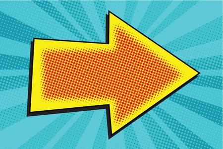 Strzałka Pop Art retro ilustracji wektorowych. Wskaźnik do kierunku Ilustracje wektorowe