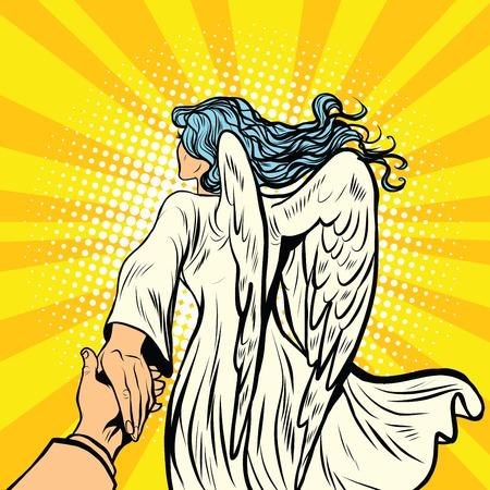 seguimi, donna angelo con le ali. pop art retrò fumetto illustrazione vettoriale. La religione e l'amore