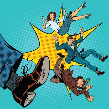 Kick leg, dismissal, pop art retro comic book vector illustration. Politics and elections