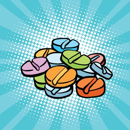 colorful medical pills, sports doping and drugs pop art retro comic book vector illustration