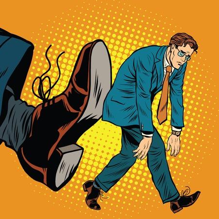 dismissal: Businessman dismissal pop art retro comic book vector illustration. Sad office worker