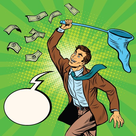 said: Businessman catching money with a butterfly net and said, pop art retro comic book vector illustration. Dollars and Finance Illustration