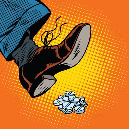 pharmacy pills: Leg presses tablet, pop art retro comic book vector illustration. doping and drugs, medicine and medications Illustration