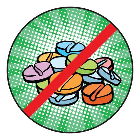 Smettere di doping segno icona pop art retrò fumetto illustrazione vettoriale
