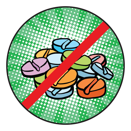 Stop doping pop art teken pictogram retro comic book vector illustratie Stock Illustratie