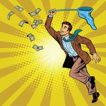 Business man catching money with a butterfly net, pop art retro comic book vector illustration. Dollars and Finance 일러스트