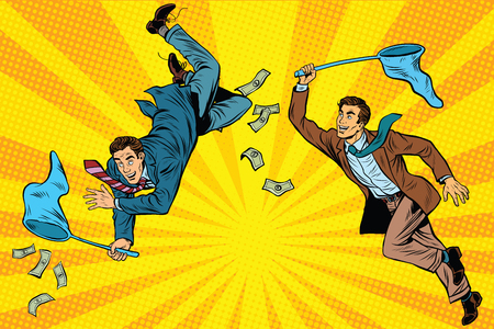 Competition, two businessmen catching money with a butterfly net, pop art retro comic book vector illustration Illustration