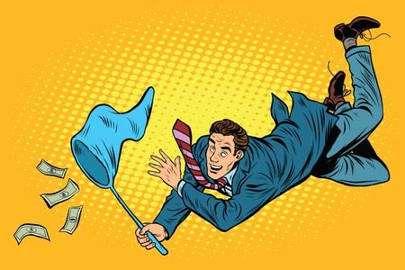 catch: Business man catching money with a butterfly net, pop art retro comic book vector illustration. Dollars and Finance Illustration