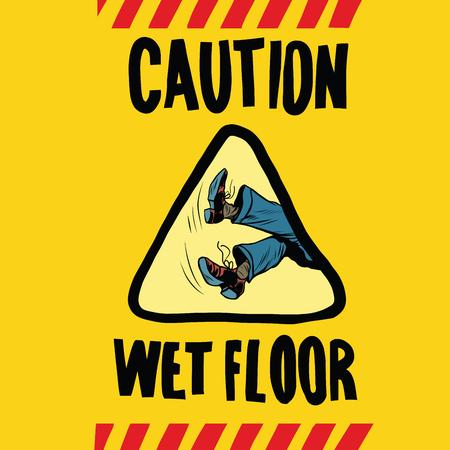 caution wet floor feet men, pop art retro vector illustration