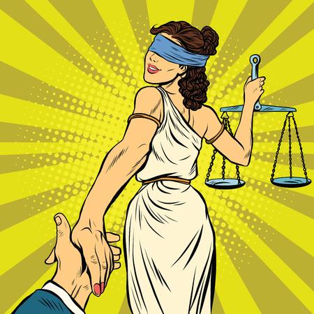volg mij, Themis leidt naar de rechter, pop art retro vector illustratie. Justitie en recht