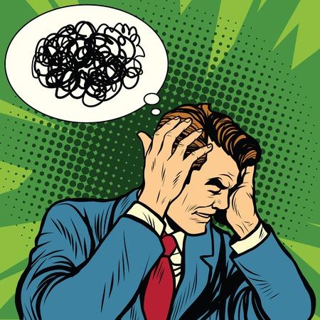 Man hoofdpijn verward, pop art retro vector illustratie. Psychologie en ziekte van de hersenen